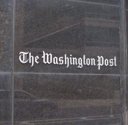 Washington Post building sign