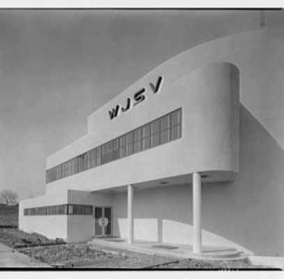 WJSV/WTOP Radio Transmitting Station (1940), Wheaton, by E. Burton Corning.WTOP photo by Theodor Horydczak taken between 1940 and 1943, from the Library of Congress collection.