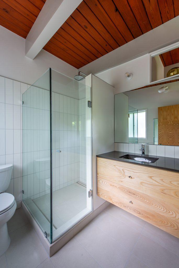 Updated modern bathroom in mid-century modern house.