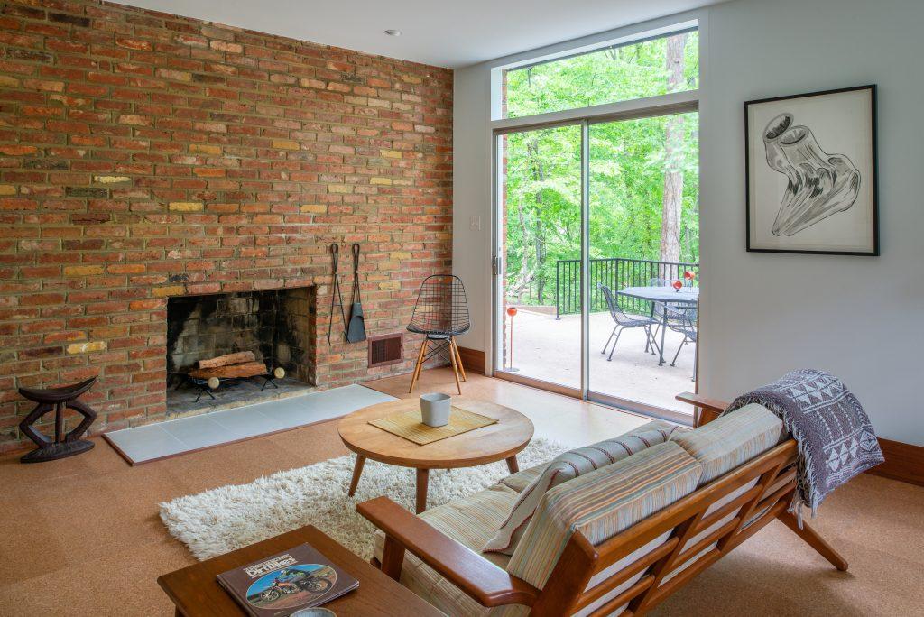 Lowe-level den in mid-century modern home in Falls Church.