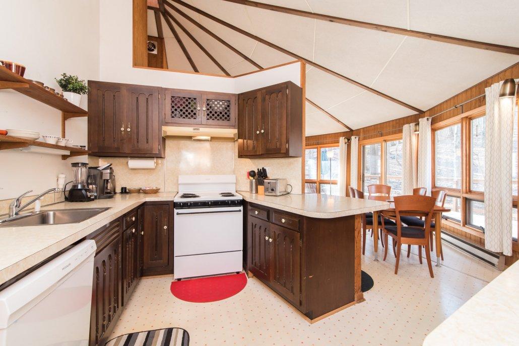 Kitchen in Half Round cabin in Coolfont.